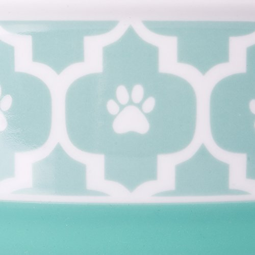 Image of DII Bone Dry Lattice Ceramic Pet Bowl for Food & Water with Non-Skid Silicone Rim for Dogs and Cats (Small - 4.25
