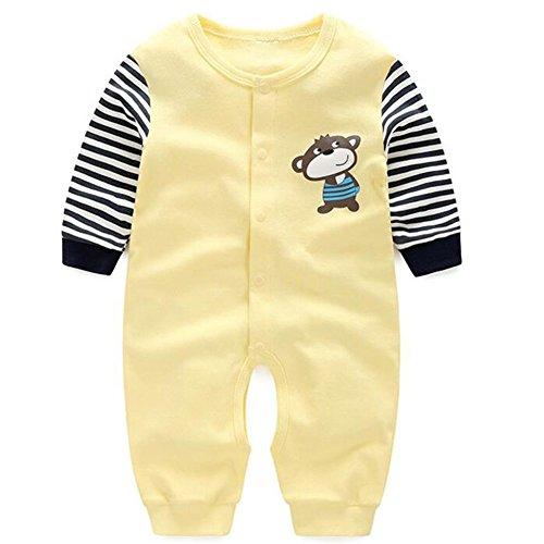 6379b01322232 エルフ ベビー(Fairy Baby)新生児パジャマ 長袖カバーオールロンパース 前開き 90cm イエロー