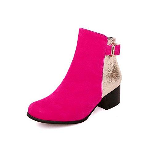 AllhqFashion Womens Zipper Kitten-Heels Blend Materials Assorted Color Low-top Boots Rosered ZuegE
