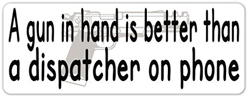 """Pack of 3 Stickers - Pro NRA Message A gun In Hand Pro Gun Vinyl Decal Bumper Sticker / Laptop Sticker 3"""" inches X 8"""" inches"""