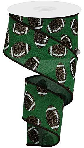 Sports Glitter Wired Ribbon - 10 Yards (Football, Emerald, 2.5