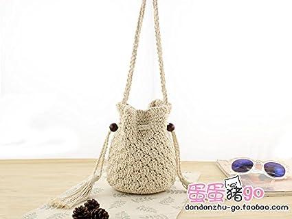 BAGEHUA puro cotone sacchetto di benna di stile folk paglia Crossbody borsa da spiaggia la tessitura Mini borsa canapa di cotone BAGEHUA@