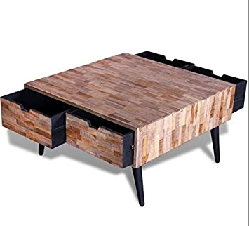 c3168f7d0d38b Vintage Industrial Coffee Table Reclaimed Solid Teak Wood Furniture Square  Retro Storage Small Metal Leg Urban
