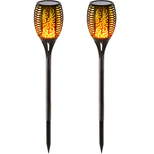 BAXIA TECHNOLOGY Solar Lights Outdoor, Waterproof Dancing Flickering Flame Torch Lights, 96 LED Solar Powered Flame Lights Dusk to Dawn Auto On/Off Security Torch Light for Patio, Pathway (2 Pack) (Best Led Torch Review)