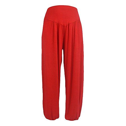 Women Palazzo Pants, JOYFEEL ❤️ Ladies Casual Cotton Plus Size Baggy Harem Trousers Elastic Waist Wide Leg Yoga Pants Red