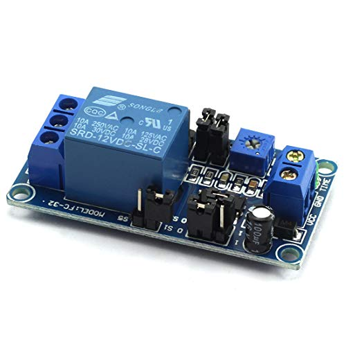 (DZS Elec 1 Piece Delay Relay DC 12V 5.5mA Turn on/off Switch Module with Timer For Electronic Equipment Protection, PLC Control, Robot)