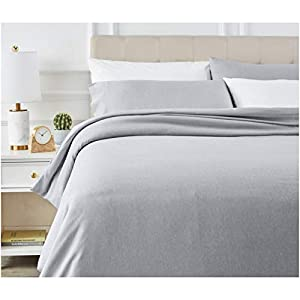 AmazonBasics Chambray Duvet Cover Set - Full/Queen, Soft Navy