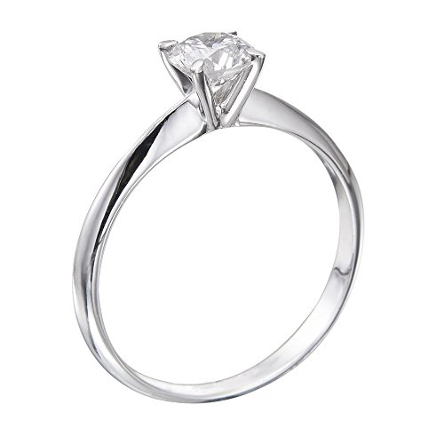 Diamond Engagement Ring in 14K Gold / White – Certified, Round, 0.30 Carat, F Color, VS1 Clarity
