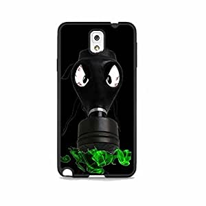 Vintage Gas Mask Black with BloodShot Evil Eyes and Green Smoke Galaxy Note 3 Rubber Phone Case