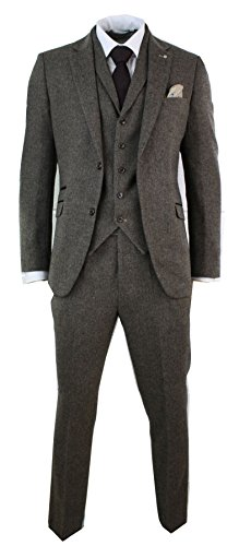 Cavani Mens 3 Piece Wool Blend Herringbone Tweed Suit Blue Brown Vintage Tailored Fit Wool Tweed Pants