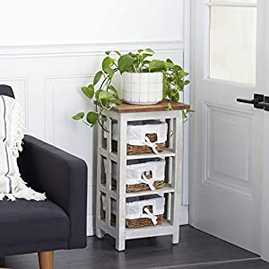 "Deco 79 Storage Unit, 15""L x 12""W x 29""H, Ivory"