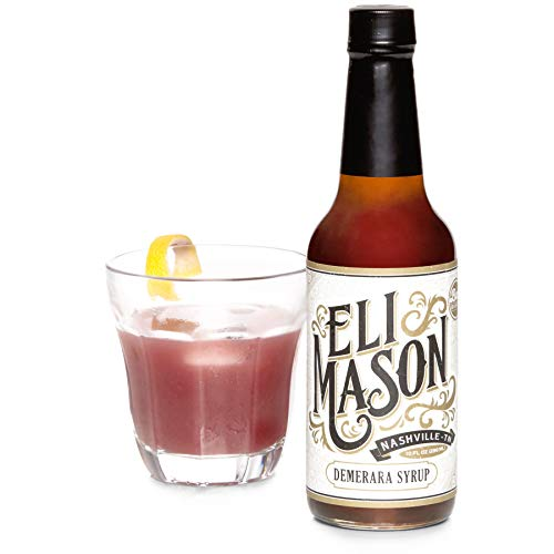 Eli Mason Demerara Cocktail Mixer - All-natural Demerara Syrup - Uses Real Cane Demerara Sugar & Proprietary Blend Of Cocktail Bitters - Made In USA, Small Batch Cocktail Mixes - 10 Ounces