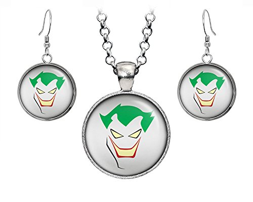 DC+Comics Products : The Joker Pendant, Suicide Squad Necklace, DC Comics Harley Quinn Jewelry, Batman Justice League Earrings, Wedding Party, Geek Gift Geeky Gifts Nerd Nerdy Presents