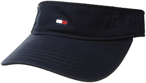 Tommy Hilfiger Men's Dad Hat Flag Solid Cotton Visor, Navy Blazer, O/S (Cotton Cap Solid)