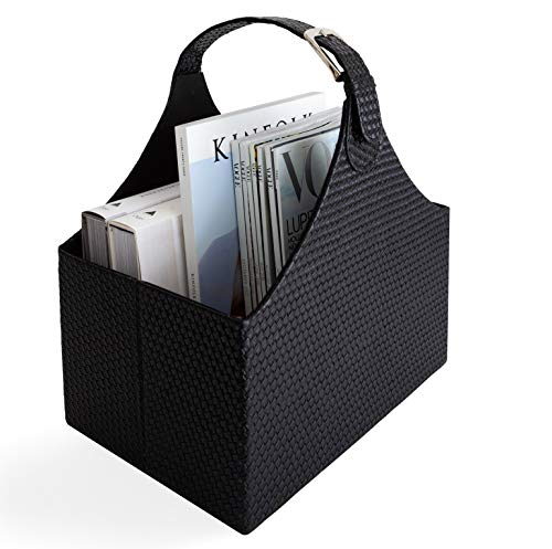 Blu Monaco - Quality Leather Magazine Basket Holder Bin Rack & Storage Handle - Woven Black - Great Coffee Table, Side Table, Living Room, Bathroom, Reception Desk