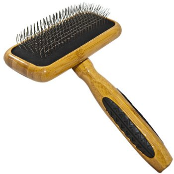 Bass Brushes Medium Slicker Style Pet Brush with Bamboo Wood Handle and Rubber Grips, My Pet Supplies