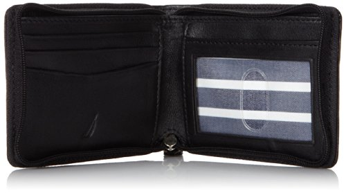 Nautica Men's Leather Slim Zip Wallet,Black,