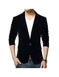 WEI QIU Men's Velvet Long Sleeve Slim Fit One Button Blazer Jacket Dinner Party