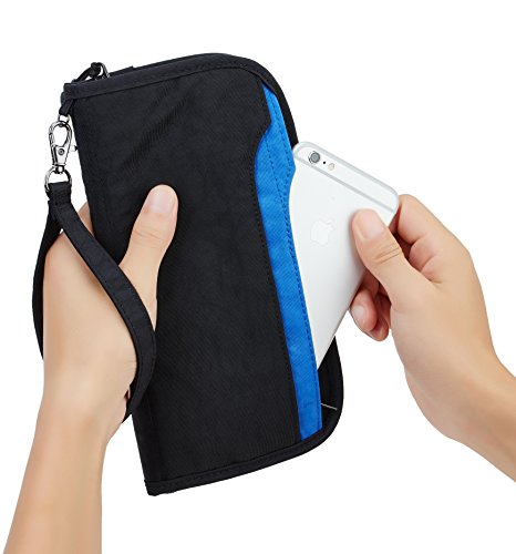 Travelambo Travel Wallet Passport Holder Wallet RFID Blocking Credit Card Holders for Men & Women (black/blue)