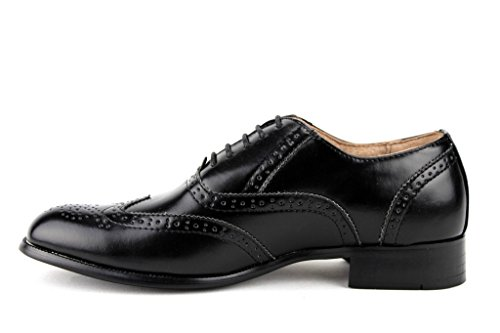 Mens Maestoso 95753 Punta Due Ali Brogue Formale Pizzo Stringate Oxford Scarpe Nere