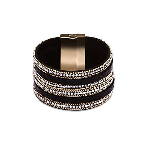 2 Gb Usb Bracelet (KnSam Bracelets for Women Leather Bracelet with CZ Black)