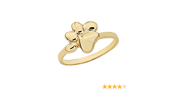 Dog Paw Ring Jewelry Handmade Solid 14K Yellow Gold OP1-RG