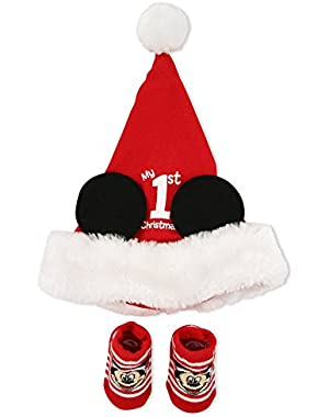 Disney Baby Boys' Hat Sock Set Mickey 1st Christmas