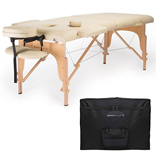 Saloniture Professional Portable Folding Massage Table with Carrying Case – Cream