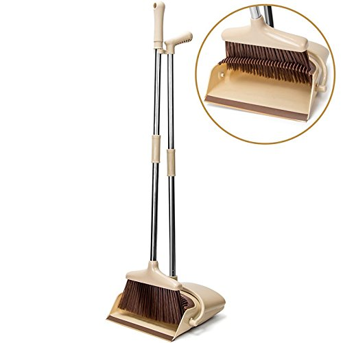 Wuudi Broom Dustpan Suit Set Household Cleaning Supply Sweeping Artifact Long Handle Broom Dustpan Set for Office and Home
