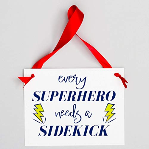 Every Superhero Needs A Sidekick Sign for Big Brother or Sister | Pregnancy Baby Announcement | Red Blue & White PAPER ()