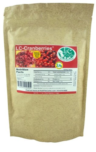 Low Carb Freeze Dried Cranberries (Unsweetened) - LC Foods - All Natural - Paleo - Gluten Free - No Sugar Added - Diabetic Friendly - 1.1 oz