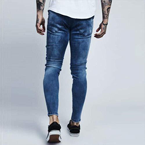 Aderenti Da Pantaloni Denudati Elasticizzati Jeans Nudi R Strappati Con Lanceyy Uomo Stile E Denim Semplice Blau Skinny 5n7ZqwxTv