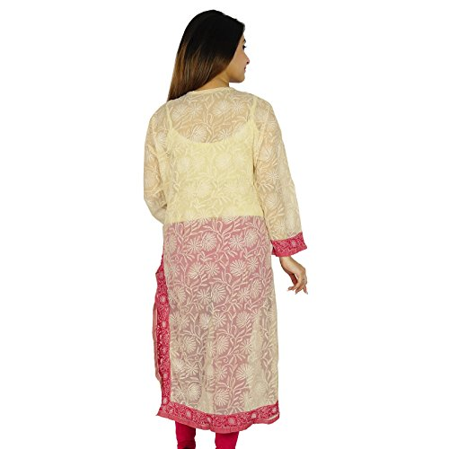 India étnicas Diseñador Kurti algodón Chikan regalo de las mujeres vestido de la túnica casual para su bordado Beige y rosa-1