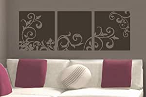 "Decorative Flower Panel vinyl wall lettering words sticky art home decor quotes stickers decals, 16""x45"", Warm Grey Matte"