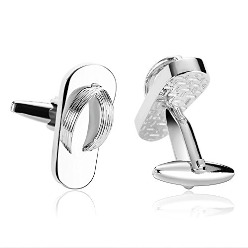 AMDXD Cufflinks for Men Wedding Groom Silver Flip Flop Shirt Cufflinks Cuff Links Mens Stainless 2.4x1CM