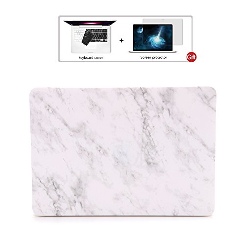 Macbook Retina 12 inch Case -With Keyboard Cover and Screen Protector, Dowswin Heavy-Duty Rubberized Marble Pattern Protective Case for Apple Macbook Retina 12.1 Model A1534 | Fully Vented for Safety