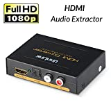 Unnlink HDMI Audio Extractor Support 1080P HDMI to HDMI + Optical Toslink(SPDIF) + RCA(L/R) Stereo Analog Outputs Video Audio Splitter Converter