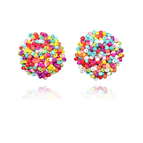 Bohemian Beaded Stud Earrings for Women and Girls Handmade Lightweight Hypoallergenic Statement Dangles Drop Earrings(Multicolor) ()