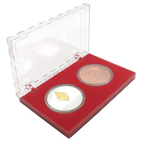 Acrylic Cases Double Coin Holder Display Case for 1.57in/4cm Commemorative Coins Collectors Gift Box (Red)