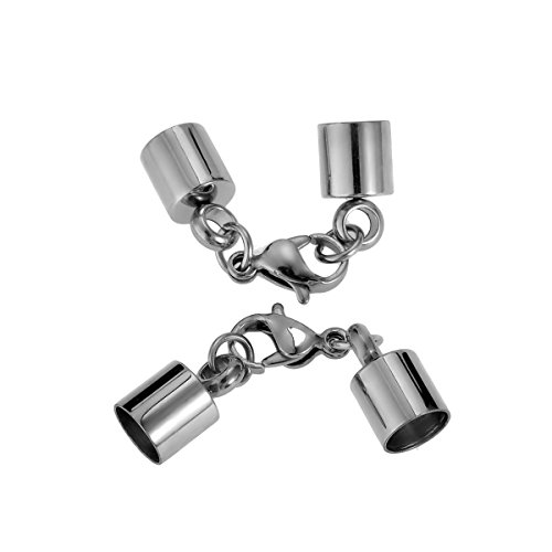 HooAMI Stainless Steel Necklace Bracelet End Caps & Lobster Claw Clasp Silver Tone Fit 6mm Cord(Qty=2sets ) Cap Clasp
