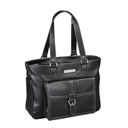 Clark & Mayfield Stafford Pro Leather Laptop Tote 15.6'' (Black) by Clark & Mayfield
