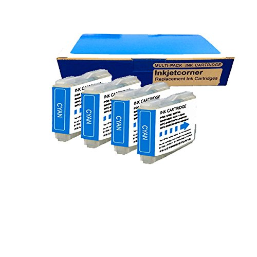 Inkjetcorner 4 Pack CYAN Compatible Ink Cartridge for LC51 DCP130C DCP330C DCP340CN MFC230C MFC240C MFC350C MFC440CN MFC465CN MFC3360C MFC5460CN MFC5860CN MFC665CW MFC685CW MFC845CW MFC885CW
