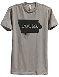 Home Roots State Iowa Men's Modern Fit T-Shirt Tee Military Grey