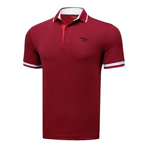 決してフィクション嵐Kayiyasu ポロシャツ メンズ ゴルフウェア UVカット ゴルフシャツ オシャレ スポーツシャツ 男性用 半袖 Tシャツ 運動着 日焼け止め 021-xsty-yf133(XXL レッド)