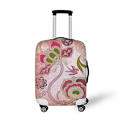 (Ethnic Stylish Luggage Cover,Ethnic Asian Floral with Scroll Swirl Leaf Lines Boho Artwork for Luggage,M(19.6''W x 28.9''H))