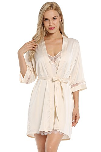 BellisMira Women's Long Dressing Gown Sleepwear Satin Robe Bridal Kimono Lace Hem Nightgown Pajamas with Belt,Gold,S