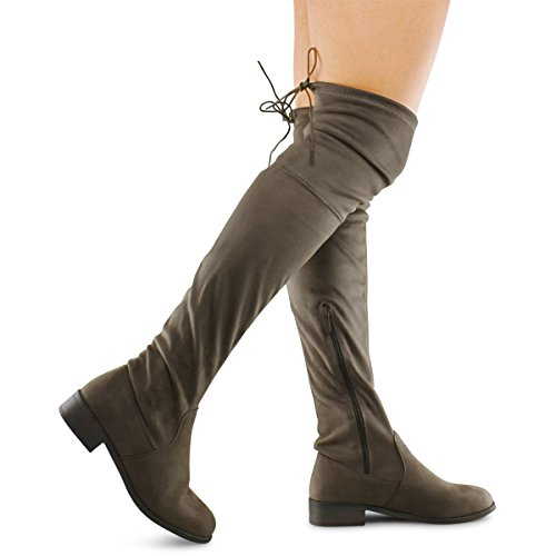 Vegan Lace (Premier Standard Women's Fashion Comfy Vegan Suede Block Heel Side Zipper Back Lace Thigh High Over The Knee Boots, TPS Olympia-14 Taupe Size 11)