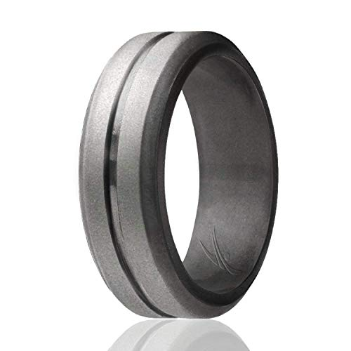 ROQ Silicone Wedding Ring for Men, Single Elegant, Affordable Silicone Rubber Wedding Bands, Brushed Top Beveled Edges -Beveled Matallic Platinum - Size 16