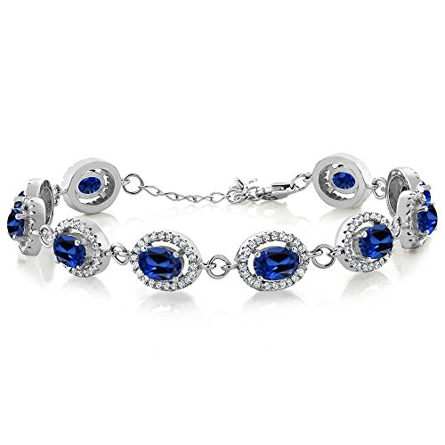 Gem Stone King 925 Sterling Silver Blue Simulated Sapphire Tennis Bracelet 12.88 - Clean Bracelet Silver