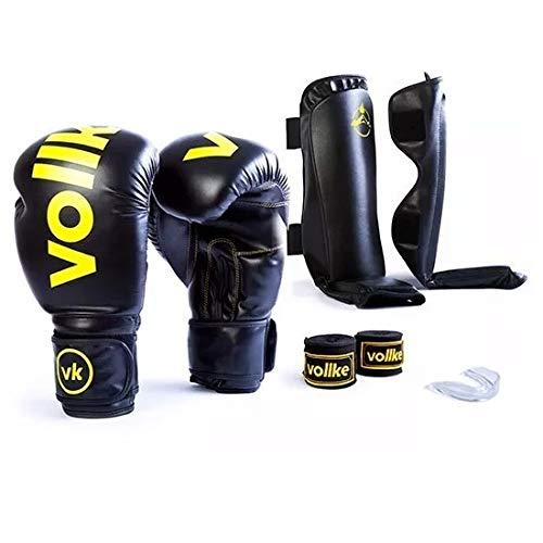 98593344c Kit Muay Thai Luva Vollke 12OZ Preta Bandagem Bucal Caneleira